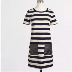 J.CREW Striped Pocket Dress Blue Ivory exposed zip